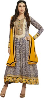 Shop Plaza Georgette, Satin, Satin Embroidered Semi-stitched Salwar Suit Dupatta Material