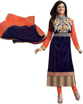 FabPandora Chanderi, Silk Embroidered Semi-stitched Salwar Suit Dupatta Material Unstitched