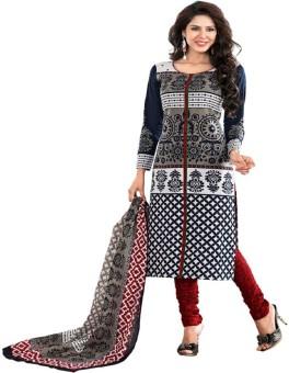 Aashvi Creation Cotton Printed Semi-stitched Salwar Suit Dupatta Material Unstitched