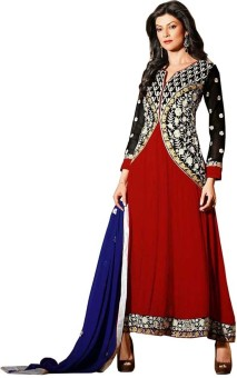 Febvilla Georgette Self Design Semistitched Salwar Suit Dupatta Material