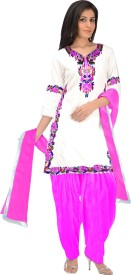 EthnicBasket Cotton Embroidered Semi-stitched Salwar Suit Dupatta Material