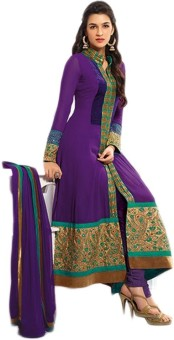 Loot Lo Purple Gown Georgette Embroidered Semi-stitched Salwar Suit Dupatta Material Unstitched