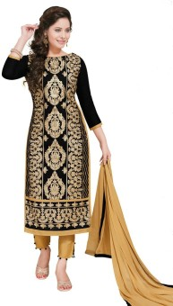 Salwar Studio Cotton Floral Print, Chevron Salwar Suit Dupatta Material Un-stitched