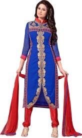 EthnicBasket Georgette Embroidered Semi-stitched Salwar Suit Dupatta Material