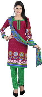 Rudra Fashion Cotton Polyester Blend Floral Print Semi-stitched Salwar Suit Dupatta Material Unstitched