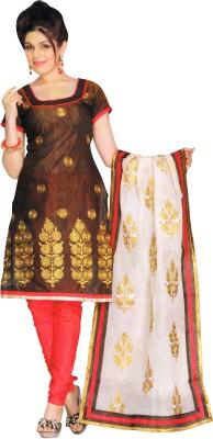 FineDeal Silk Self Design Semi-stitched Salwar Suit Dupatta Material Unstitched
