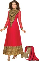 Prafful Georgette Floral Print Semi-stitched Salwar Suit Dupatta Material - Unstitched