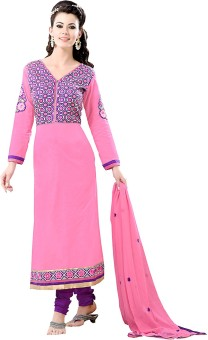 Go Traditional Cotton Embroidered, Printed Semi-stitched Salwar Suit Dupatta Material Unstitched