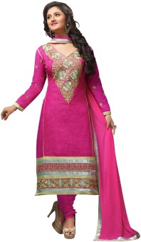Manvaa Cotton Polyester Blend Embroidered Semi-stitched Salwar Suit Dupatta Material