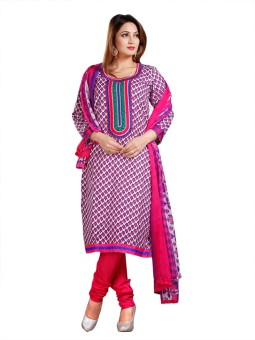 Dazzling Array Cotton Floral Print Semi-stitched Salwar Suit Dupatta Material Unstitched