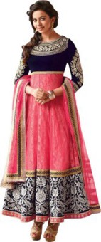 Crazy2Buy Georgette, Brasso Embroidered Semi-stitched Salwar Suit Dupatta Material
