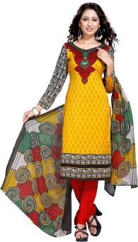 Shopeezo Cotton Floral Print Semi-stitched Salwar Suit Dupatta Material Semi-stitched