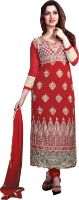 Lifestyle 7 Colors Lifestyle Georgette Self Design Semi-Stitched Salwar Suit Dupatta Material (Red)
