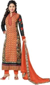 MF Georgette Printed, Embroidered Semi-stitched Salwar Suit Dupatta Material Semi-stitched