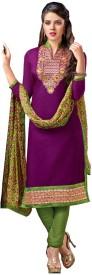 Resham Fabrics Chanderi, Cotton Embroidered, Self Design Salwar Suit Dupatta Material