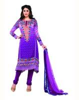 Aanara Georgette Floral Print Semi-stitched Salwar Suit Dupatta Material Fabric - Unstitched - FABDVV4NPAHBGTXM