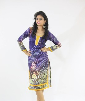 Sonani Exports Cotton Polyester Blend Graphic Print, Self Design, Printed Kurti Fabric Un-stitched