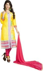 Ligalz Cotton Embroidered Semi-stitched Salwar Suit Dupatta Material
