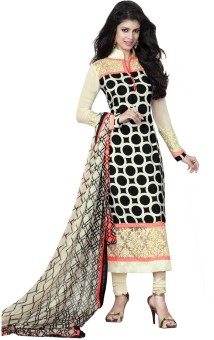 Resham Fabrics Crepe, Net Polka Print, Floral Print Semi-stitched Salwar Suit Dupatta Material (Unstitched)