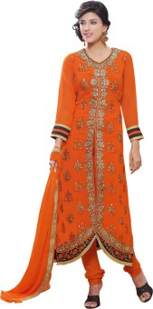 Shop Plaza Georgette, Satin, Silk Embroidered Semi-stitched Salwar Suit Dupatta Material Unstitched
