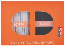 Raymond Cotton Polyester Blend Striped Shirt & Trouser Fabric