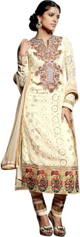 Go Traditional Georgette Embroidered, Printed Semi-stitched Salwar Suit Dupatta Material Unstitched