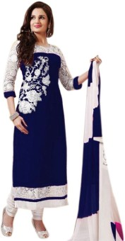 SayShopp Georgette, Chiffon Embroidered Semi-stitched Salwar Suit Dupatta Material
