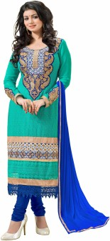 Zombom Georgette Embroidered Semi-stitched Salwar Suit Dupatta Material Semi-stitched