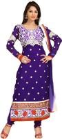 Aanara Georgette Floral Print Semi-stitched Salwar Suit Dupatta Material Fabric - Unstitched