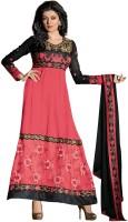 Fabdeal Georgette Floral Print Semi-stitched Salwar Suit Dupatta Material Fabric - Unstitched - FABDX3CEPYMK7WQG