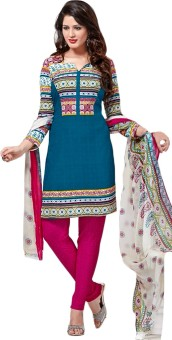 Jevi Prints Synthetic Printed Salwar Suit Dupatta Material Un-stitched