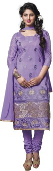 Surat Dream Chanderi, Cotton Embroidered Salwar Suit Dupatta Material Unstitched