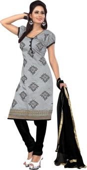 Shop Plaza Chanderi, Silk, Cotton Embroidered Salwar Suit Dupatta Material Un-stitched