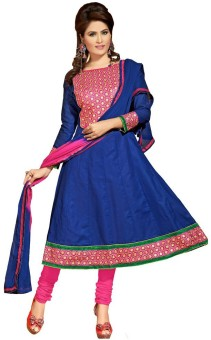 Creative Look Cotton Self Design, Embroidered Semi-stitched Salwar Suit Dupatta Material Unstitched