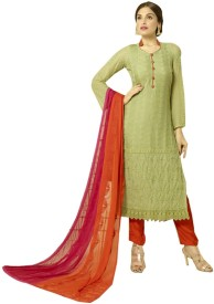 Kreckon Chiffon Embroidered Salwar Suit Dupatta Material