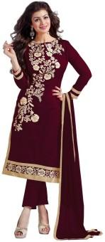 Desi Look Chanderi Floral Print, Embroidered Semi-stitched Salwar Suit Dupatta Material Semi-stitched