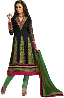 FNF Net Self Design Semi-stitched Salwar Suit Dupatta Material Fabric Unstitched
