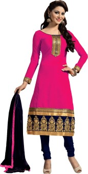 Stella Creation Chanderi, Chiffon, Cotton Embroidered Semi-stitched Salwar Suit Dupatta Material Semi-stitched