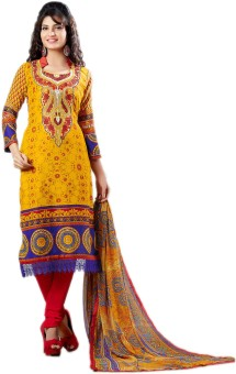 The Ethnic Wear Cotton Polyester Blend Printed Salwar Suit Dupatta Material (Unstitched)
