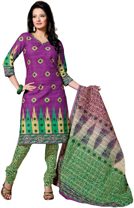 Fabdeal Cotton Polka Print Salwar Suit Dupatta Material Fabric - Unstitched - FABDUYAGKDCZMZFE