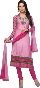 Shop Plaza Cotton, Silk Embroidered Semi-stitched Salwar Suit Dupatta Material Unstitched