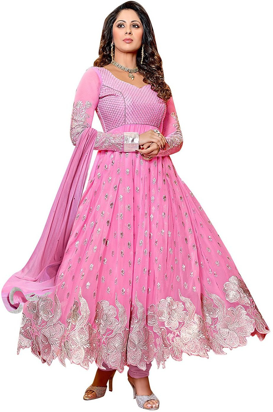 H.P.D Georgette Embroidered Semi-stitched Salwar Suit ...