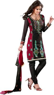 Vakaro Vakaro Georgette Printed Dress\/Top Material (Black)