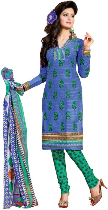 Fabdeal Cotton Floral Print Salwar Suit Dupatta Material Fabric - Unstitched - FABDUYAGX9Z9UZXG