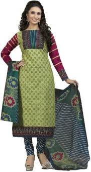 Diyastyle Cotton Floral Print Dress/Top Material Unstitched
