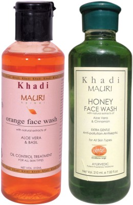 Khadi Mauri Ayurvedic Herbal Face Wash Combo Pack Of 2 Orange & Honey Natural & Organic 210 Ml Each Face Wash (420 Ml)