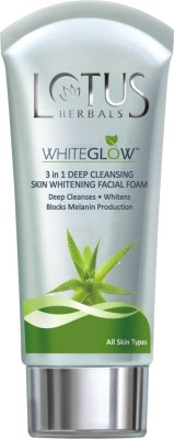 Lotus Herbals White Glow 3 in 1 Deep Cleansing Skin Whitening Facial Foam Face Wash 100 g