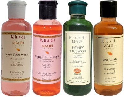Khadi Mauri Ayurvedic Herbal Face Wash Combo Pack Of 4 Rose Honey Orange & Fenugreek (Methi) Natural & Organic 210 Ml Each Face Wash (840 Ml)