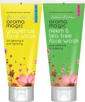 AromaMagic Grape Fruit ,Neem And Tea Tree Combo Face Wash (200 G)