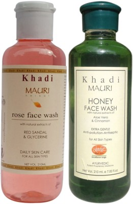 Khadi Mauri Ayurvedic Herbal Face Wash Combo Pack Of 2 Rose & Honey Natural & Organic 210 Ml Each Face Wash (420 Ml)
